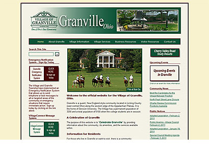 Village of Granville (Ohio) Website - Web Design - Dynamic Digital Solutions