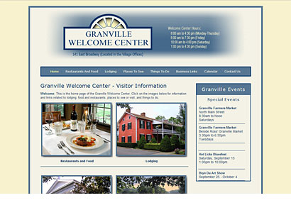 Granville (Ohio) Welcome Center Website - Web Design - Dynamic Digital Solutions