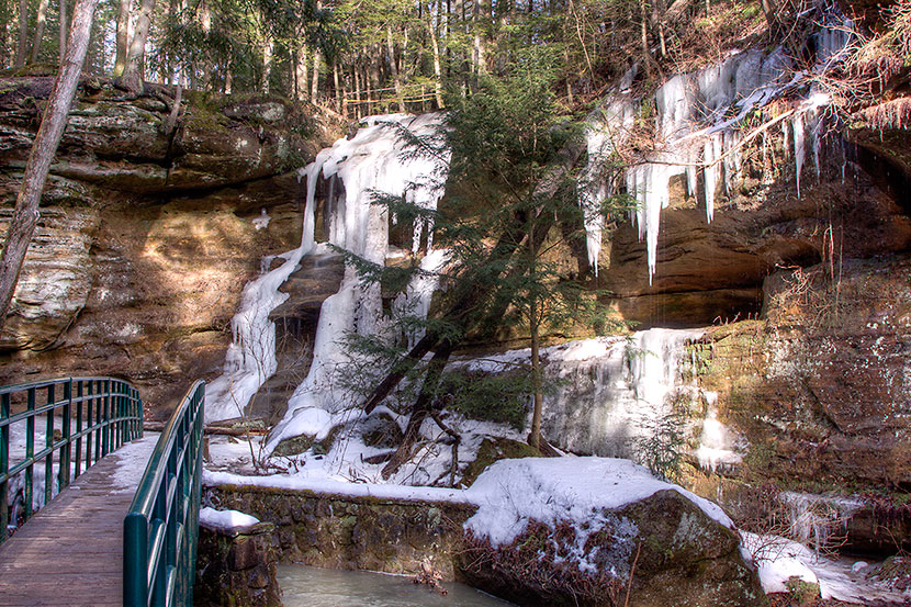 Photo Gallery - Bridge, Rock Outcrop and Icicles at Old Man's Cave - Dynamic Digital Solutions