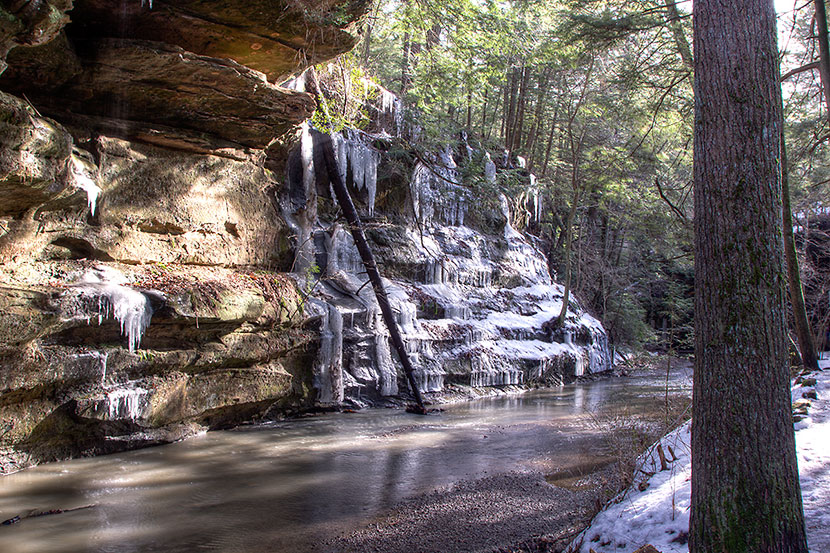 Photo Gallery - Rock Outcrop, Icicles and Stream in the Gorge at Old Man's Cave - Dynamic Digital Solutions