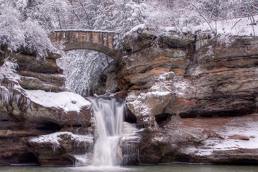 Photo Gallery - Upper Falls in Winter - Old Man's Cave - Hocking Hills State Park - Dynamic Digital Solutions