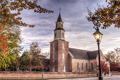 Bruton Parish Church in Early Morning - Colonial Williamsburg, Virginia - Don Holycross Photography