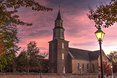 Bruton Parish Church at Sunrise in the Fall - Colonial Williamsburg, Virginia - Don Holycross Photography