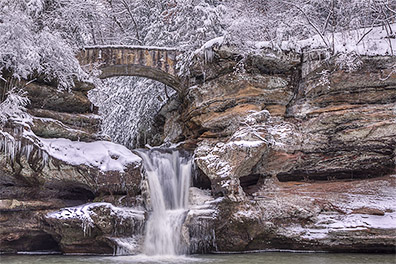 Upper Falls in Winter - Hocking Hills State Park - Hocking Hills Photography